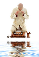bright picture of tea ceremony master at work
