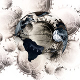cogwheels background with integrated planet earth poster