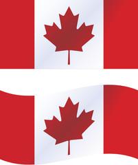 Vector illustration: Canada flag, includes waving version