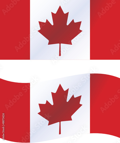 Vector illustration: Canada flag, includes waving version