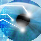 Eye scanned by security software on a blue background poster