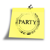 yellow party memo on a white background poster