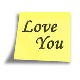 love memo on a solid white background poster