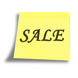 yellow sale memo on a white background poster