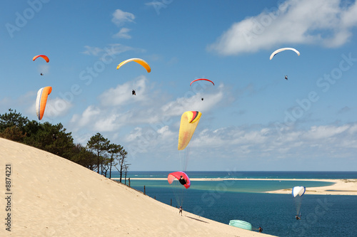 Deurstickers Luchtsport Parapente dune du pyla