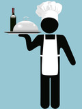 Restaurant Chef or Waiter with Wine & Food Entre on Tray poster