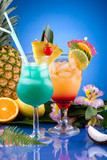 Most popular cocktails series - Mai Tai and Blue Hawaiian poster