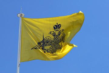 Flag of Orthodox Monk`s Republic Holly Mount Athos, Greece