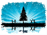 Silhouettes of children playing in snow