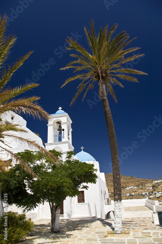 Greek church and palm trees, Greece