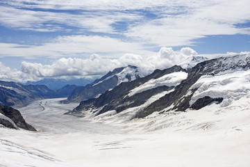 Aletsch Glacier in Swiss Alps, Switzerland
