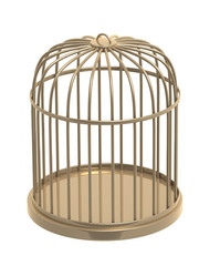 3d golden cage. Object over white