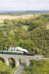 steam train crossing a bridge