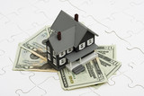House sitting on money with puzzle. understanding mortgages poster