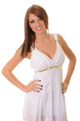 Brunette girl dressed like a Greek Goddess