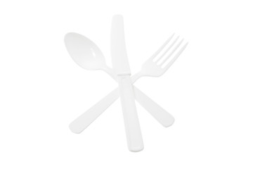 Arrangement of Plastic Cutlery on White Background