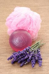 lavender soap and fresh lavender flowers - body care