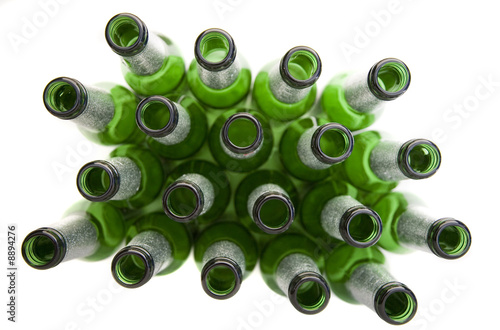 Empty Beer Bottles Isolated on White