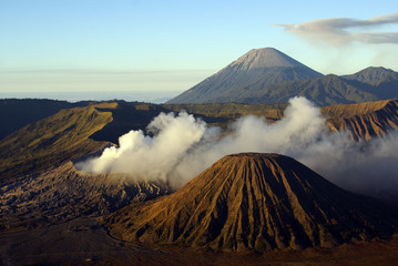 Morning and vulcanos in caldera, Java, Indonesia