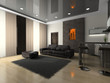 View on the modern room 3D rendering