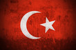 Weathered Flag Of Turkey, fabric textured..