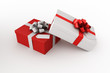 3d rendering of a red and white gift box with a tag