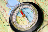 Navigational Compass on Topographical Map, Pointing North