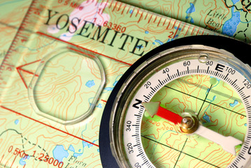 Compass on Topographical Map of Yosemite National Park