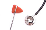 A doctor or nurses reflex hammer and stethoscope poster