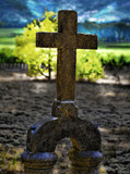 Old Cross Headstone in Cemetery HDR poster