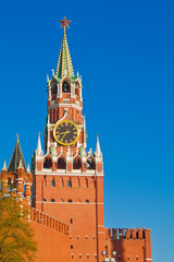 Famous Tower of Moscow Kremlin, symbol of Russia