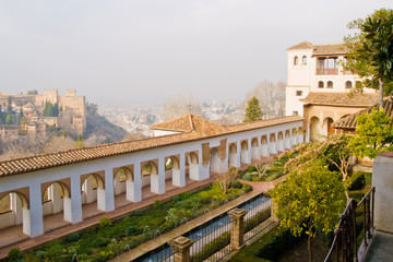 Alhambra palace gardens in the light of morning sun
