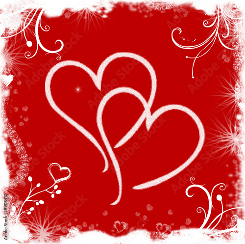 Red white valentine background with hearts and flowers