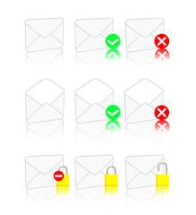 set de logo d'enveloppes sur fond blanc