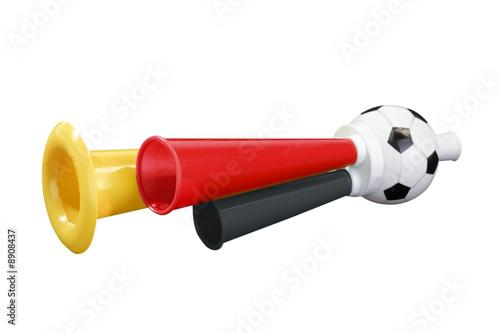 Leinwanddruck Bild Schwarz rot goldene Fußballtröte