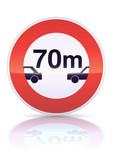 Interdiction aux véhicules circuler intervalle(reflet métal) poster