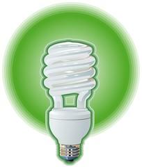 Green Compact Flourescent Light Bulb