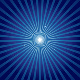 Star shining brightly with a radial background in blue poster