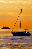 Barca vela e yacht al tramonto poster