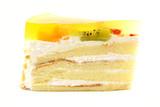 White Sponge Cream Cake With Gelatin Fruit Topping Isolated poster