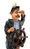 captain with steering-wheel isolated on white background poster