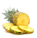 Fototapety fresh slice pineapple on white background