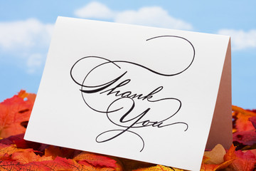 Thank you card on leaves – thank you customers