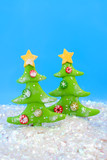 christmas tree ornaments scene with sparkling fake snow poster