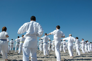 Karate training on the beach