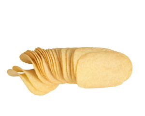 Potato chips stacked together on white background.