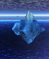Full Floating Iceberg in the Open Ocean with Freighter