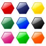 Hexagonal buttons (multi-coloured) poster
