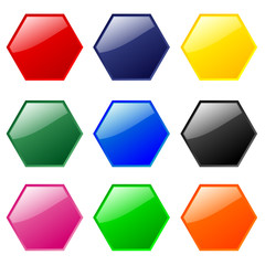Hexagonal buttons (multi-coloured)