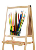 blackboard with image of many colors pencils poster